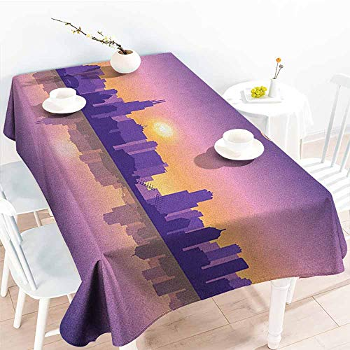(familytaste Chicago Skyline,Fitted Rectangle Table Cloth Sunset in Illinois American Horizon Behind High City Silhouettes 70