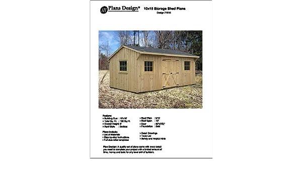 10 x 16 Saltbox estilo cobertizo proyecto Planes - diseño # 71016 por diseño de Planes: Amazon.es: Bricolaje y herramientas