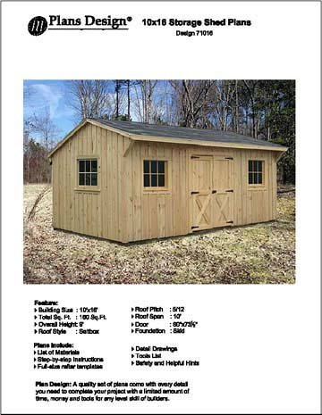 Saltbox Storage Shed Plans (10' X 16' Saltbox Style Storage Shed Project Plans -Design #)