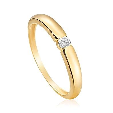 00966096e3545 Anel Solitário em Ouro Amarelo 18K com Diamante Destinee 16  Amazon ...