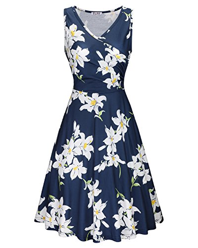 KILIG Women's Floral Print Dress,Casual Sleeveless V Neck A Line Elegant Dresses with Pockets,Floral-04,Small