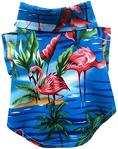 MaruPet Dog Hawaiian Shirt NewStyle Summer Beach Vest Short Sleeve Pet Clothes Dog Top Floral T-Shirt Hawaiian Tops Dog Jackets Outfits for Small Dogs Breeds Cats Blue XL