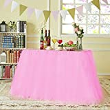 N&T NIETING Improved Handmade Tutu Tulle Table Skirt Cover for Girl Princess Birthday Party Baby Showers Weddings Holiday Parties Home Decoration, 47''-60'' Long 32'' High (Pink)