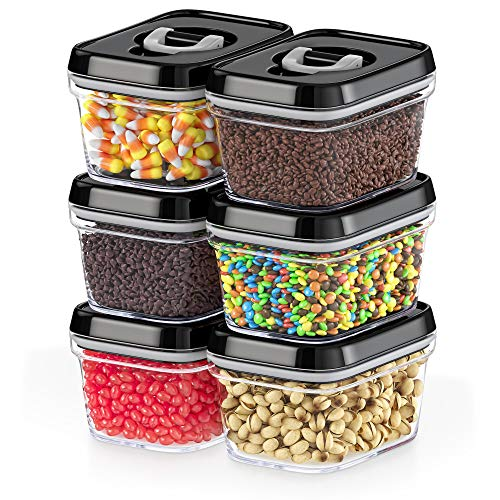 DWËLLZA KITCHEN Airtight Food Storage Containers with Lids - 6 Pieces All Same Size - Pantry Container for Spices, Candy, Nuts, Coffee and Tea, Clear Plastic BPA-Free, Keeps Food Fresh & Dry