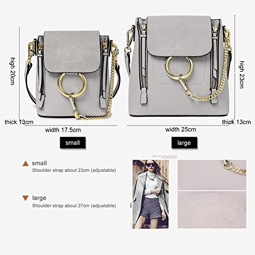 Women's Girls Bag cowhide Polish Chain Dull Casual Retro Ring Fashion Yoome Makeup Pouch Circular For Grey OZYTwqH5