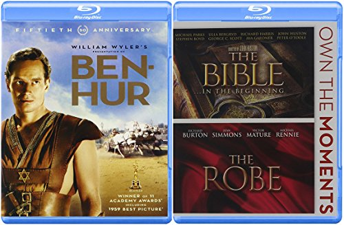 Easter 3-Movie Blu-ray Bundle - Ben Hur (50th Anniversary Edition), The Bible...In the Beginning & The Robe Collection