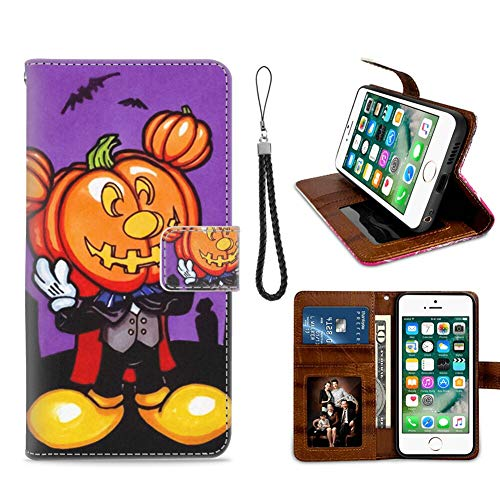 DISNEY COLLECTION Wallet Case with Kickstand Fits for Apple iPhone 8 (2017) and iPhone 7 (2016) [4.7-Inch] Free Mickey Mouse Halloween Screensaver Fashion]()