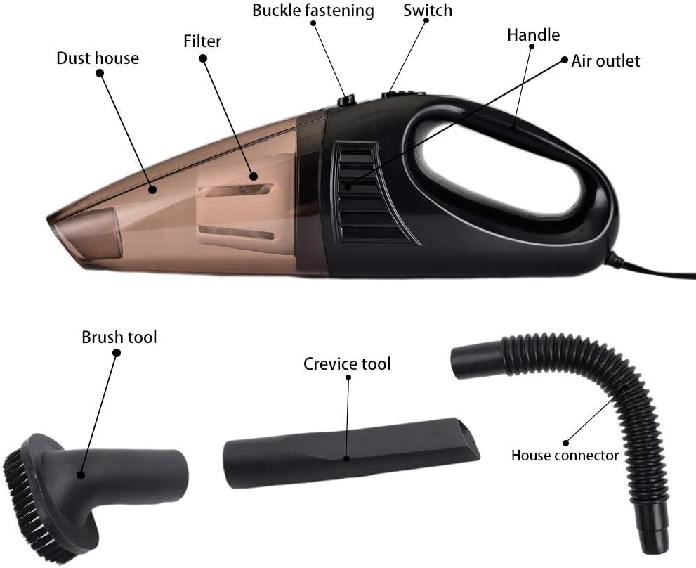 Vech Car Handheld Vacuum Wet Dry Hand Vacuum DC 12V Light Weight Portable Auto Vacuum Cleaner for Car Use Only