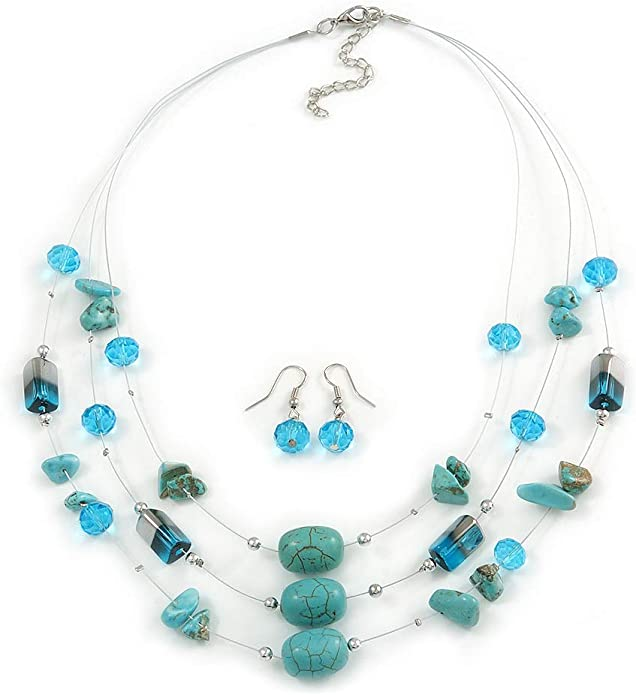 Turquoise Wavy Oblong Glass Milky Opaque Blue Round Bead /& Silver Twist Flute Bead Pendant Set Handmade Turquoise Blue Beaded Jewelry Set