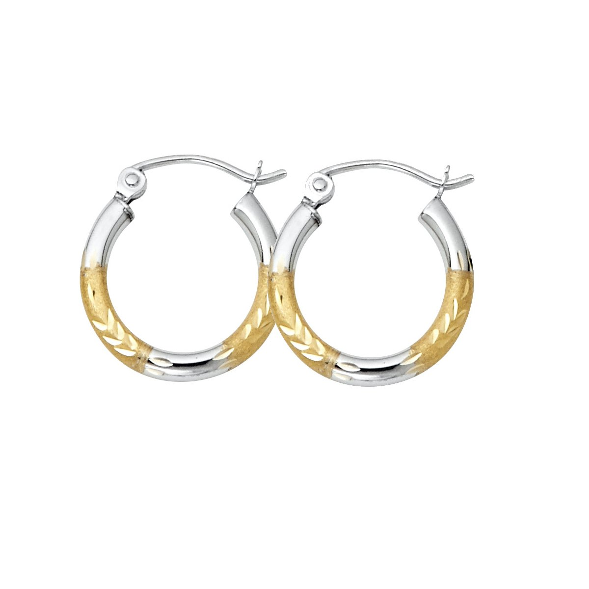 Diameter - 15 MM 14K Yellow Gold 2mm Diamond Cut Hoop Earrings