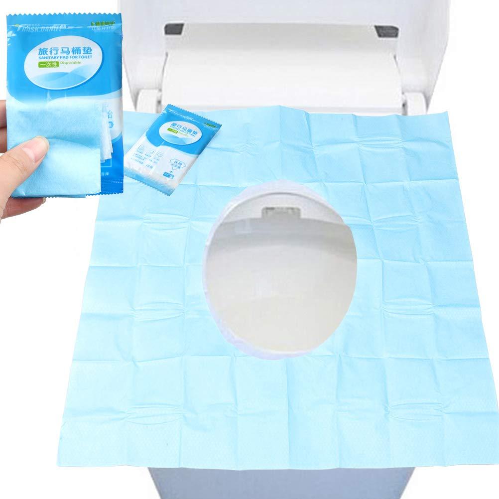Sumaju - Fundas de papel para asiento de inodoro, 30 piezas, para viaje, hospital, hogar, baño, necesidad, desechables, pack de 3 (azul + blanco): ...