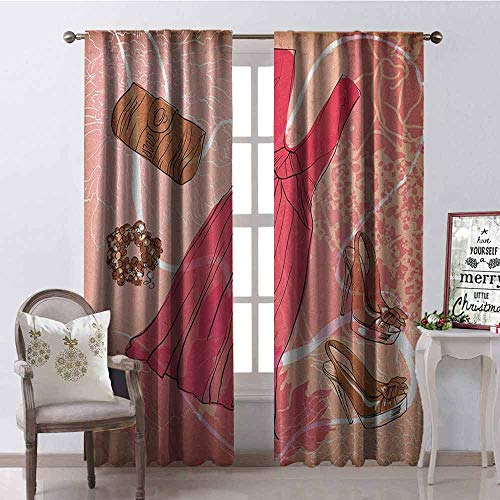 GloriaJohnson Heels and Dresses Heat Insulation Curtain Spring Inspired Floral Abstract Backdrop Pink Dress Shoes Bracelet for Living Room or Bedroom W52 x L108 Inch Pink Brown White