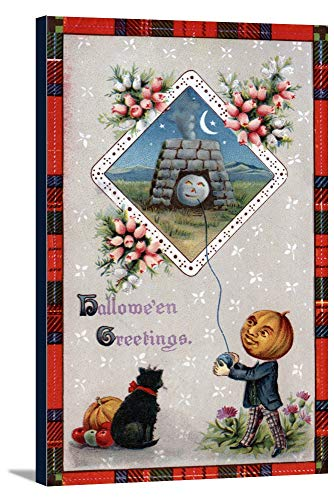 Halloween Greeting - Pumpkin Head Flying a Kite in a Chimney (22 7/8x36 Gallery Wrapped Stretched Canvas)]()