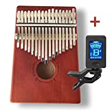 Kalimba 17 Keys Thumb Piano + Bonus Chromatic Tuner Kit by DoSensePro. Solid Mahogany with Steel Bars Mbira Finger Piano in Tone C Includes Tuning Hammer, Storage Bag, Manual and Note Stickers