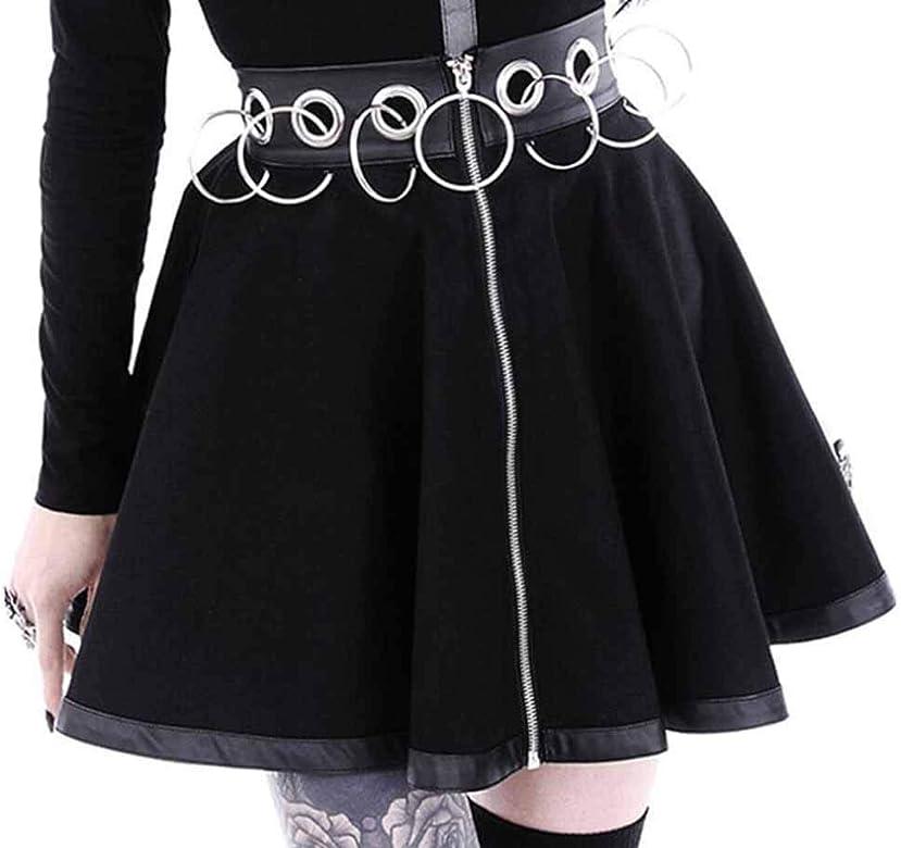 Babao Mujer Falda Gótica Negra Steampunk Vestido Corto De Cintura ...
