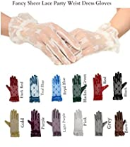 Fancy Sheer Lace Wedding Tea Party Vintage Dress Gloves Wrist Length