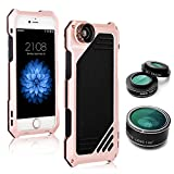 iPhone 5/5S/SE Camera Lens Kit, OXOQO 3 in 1 198° Fisheye Lens + 15X Macro Lens + Wide Angle Lens with IP54 Dustproof Shockproof Aluminum Case, Built-in Screen Protector for IPhone 5/5S/SE 4.0 Inches(Rose)