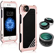 iPhone 5/5S/SE Camera Lens Kit, OXOQO 3 in 1 198° Fisheye Lens + 15X Macro Lens + Wide Angle Lens with IP54 Dustproof Shockproof Aluminum Case, Built-in Screen Protector 4.0 Inches(Rose)