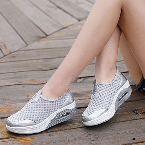 Lightweight Women's Comfort Wedge ZYEN On Casual Sneakers Breathable Grey Platform Slip Loafers 7663 Walking Shoes d5qIY