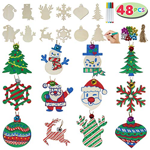 JOYIN 48 Pack Wooden Christmas Ornaments Craft Kit for DIY, Blank Christmas Hanging Ornaments Unfinished Wood Cutouts for Holiday Gifts and Christmas Decorations (For Crafts Diy Christmas)