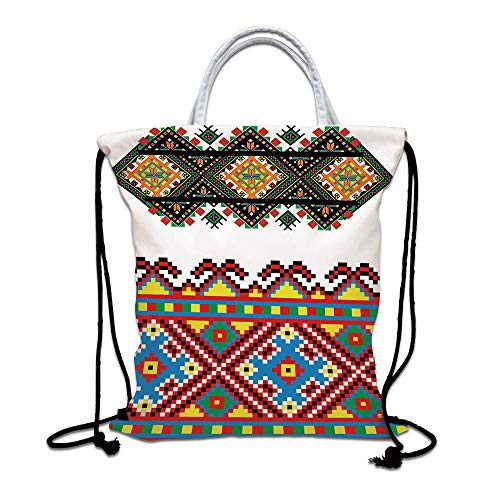 Ethnic Drawstring Backpack Bag,Retro Ukrainian Embroidery Ornament Traditional Cultural Folk Heritage Artful Design Lightweight Sports Gym Bag for Women Men Children,Multicolor from SoSung