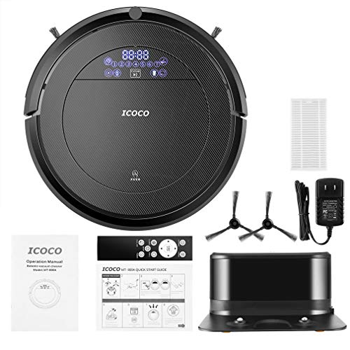 Automatic Robot Vacuum Cleaner, Strong Suction Remote Control Self-Charging Quiet Cleaner Black MT800A