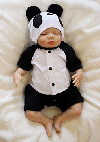 Pursue Baby Collection Soft Silicone Vinyl Lifelike Reborn Baby Boy Doll Panda Eat Bamboo, 18 Inch Realistic Weighted Newborn Baby Infant Doll for Adoption