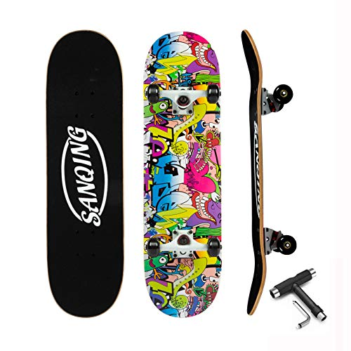 Skateboard-Standard Skateboards for Kids Boys Girls Youths Beginners Starters- 7 Layer 31'' x 8'' Complete Canadian Maple Concave Kick Stunts Skate Boards for Sports and Outdoors