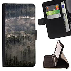DEVIL CASE - FOR Samsung Galaxy S5 V SM-G900 - Nature Forrest Clouds - Style PU Leather Case Wallet Flip Stand Flap Closure Cover