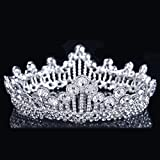 Superhai Round Brilliant Rhinestones Tiara Silver Wedding Bride Crown Bride Headdress