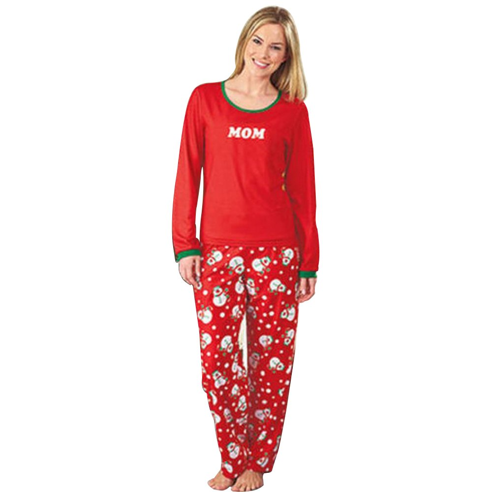 XFentech Christmas Women's Men's Children Snowman Pyjama Set