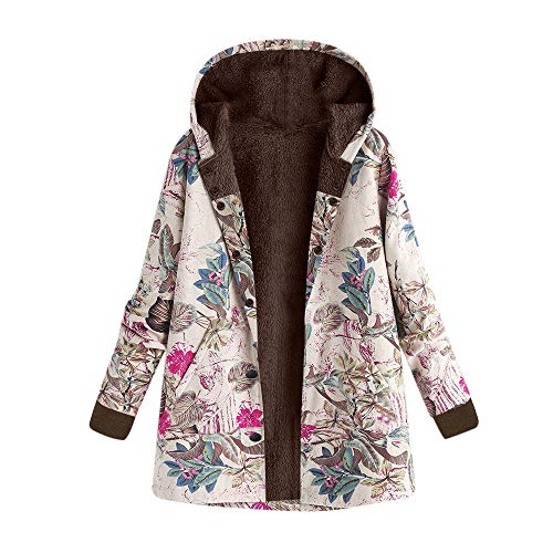 Dressin Women's Floral Print Pockets Vintage Oversize Winter Warm Hooded Jacket Cardigan Overcoat Outwear Coat