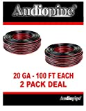 20 Gauge 200 Feet Speaker Wire (2 x 100 Feet Rolls) Red Black Zip Cable Copper Clad