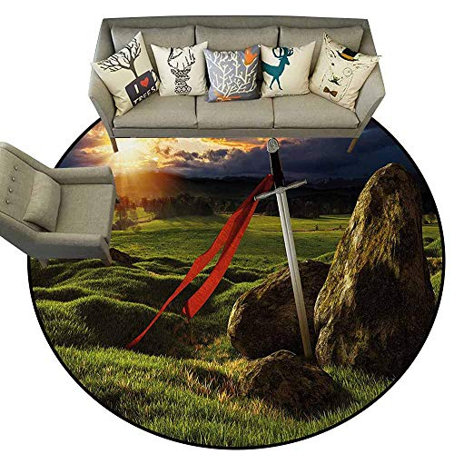 - King,Living Room Bedroom Carpets D78 Arthur Camelot Legend Myth in England Ireland Fields Invincible Myth Image Kids Floor mats Green Blue and Red