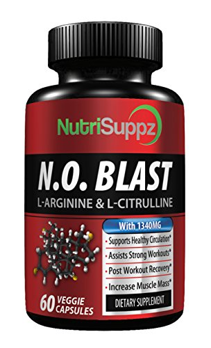 N.O BLAST - Nitric Oxide Supplement - Muscle Building Pre & Post Workout Recovery Formula - Blood Circulation & Heart Health | L Arginine, L-Citrulline, Beta Alanine, L-Citrulline Malate | MADE IN (Nitric Blast)