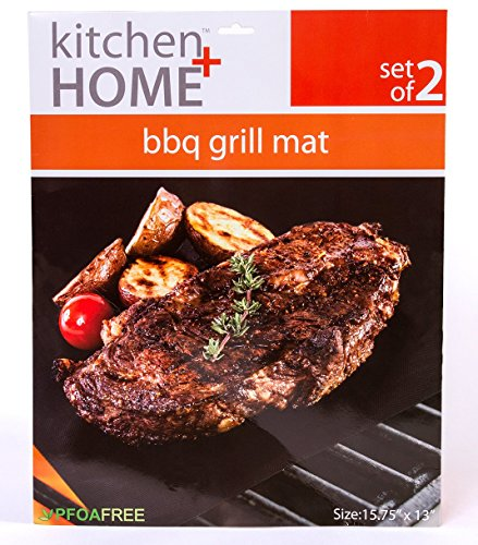 Kitchen + Home - BBQ Grill Mats -100% Non-stick, Heavy Duty, Reusable, BPA PFOA Free BBQ Grilling Accessories - 15.75 x 13 - (Set of 2)