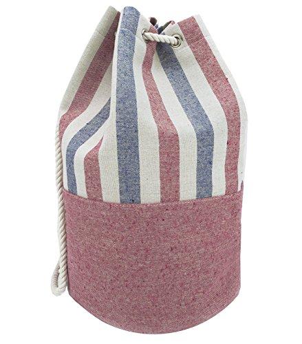 (Eshma Mardini Striped Canvas Beach Bag - Inside Lining - Eco Friendly (Blue - Red))