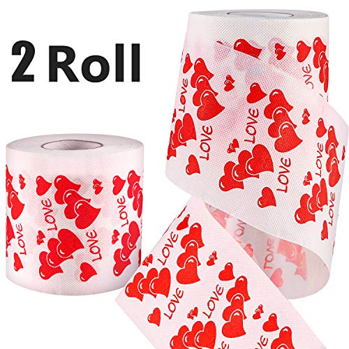 Zhanmai 2 Rolls Valentine Toilet Paper Love Heart Printed Romantic Toilet Paper Gag Gift, Funny Gag Gift for Valentine's Day or Anniversary Present ()