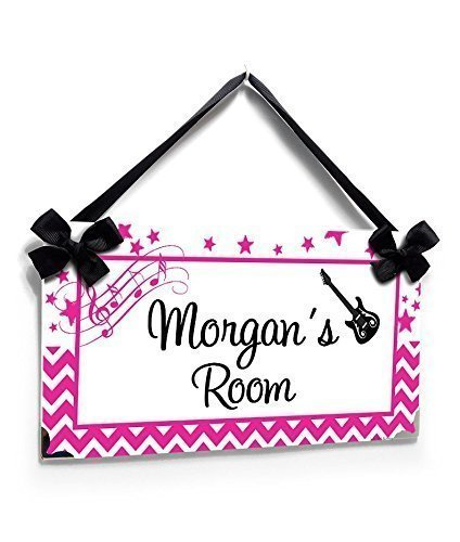 Custom Teens Room Name Sign Hot Pink and White Music Rockstar Theme Chevron and - Name Pink Metal Hot