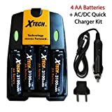 Xtech 4 AA Nimh High -Capacity Rechargeable Batteries 3100mAh plus Quick AC/DC Charger with Car Charger Adapter for Remote control, TV Remote Controllers, Game Controllers, Joysticks, Remote Control Trucks, Remote Control Cars, Remote Control Helicopters, Remote Control Planes, Remote Control Boats, Remote Control Choppers, Remote Control Trains and All Power Consuming Devices