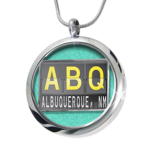 NEONBLOND ABQ Airport Code for Albuquerque, NM Aromatherapy Essential Oil Diffuser Necklace Locket Pendant Jewelry - Albuquerque Airport Shops