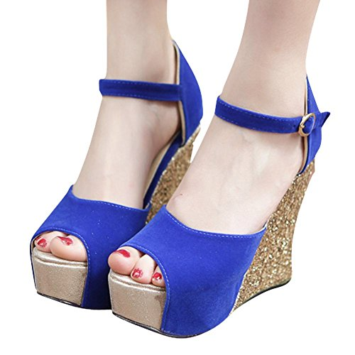 Mee Shoes Women's Chic Wedge Heel Ankle Strap Fish Mouth Buckle Sandals Blue