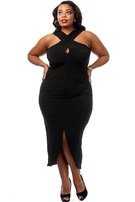 Nueva Mujer Plus Tamaño Negro Cruz Cuello Vestido Vestidos de novia Evening Party Wear Plus Talla