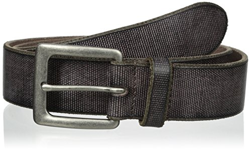 John Varvatos Men's 38 mm Canvas Leather Harness Buckle Belt, Chocolate, 38 - Leather Harness Buckle Belt