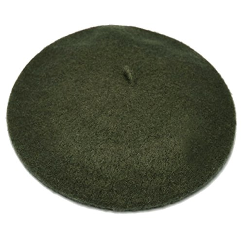 French Beret-100% Wool Solid Color Womens Beanie Cap Hat By ICSTH (One size, Dark Green)