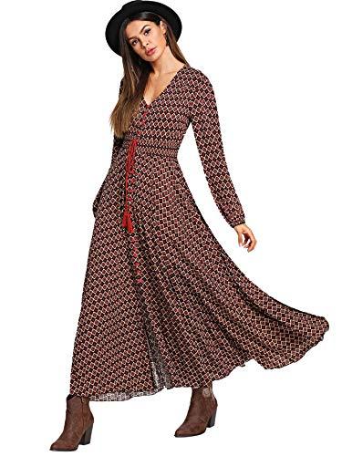 Milumia Women's Button Up Split Long Sleeve V Neck Multicolor Flowy Party Maxi Dress