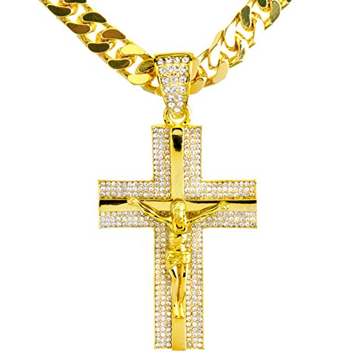 - metaltree98 New Men's 14K Gold & Silver Plated Iced Out Cross Jesus Pendant 30
