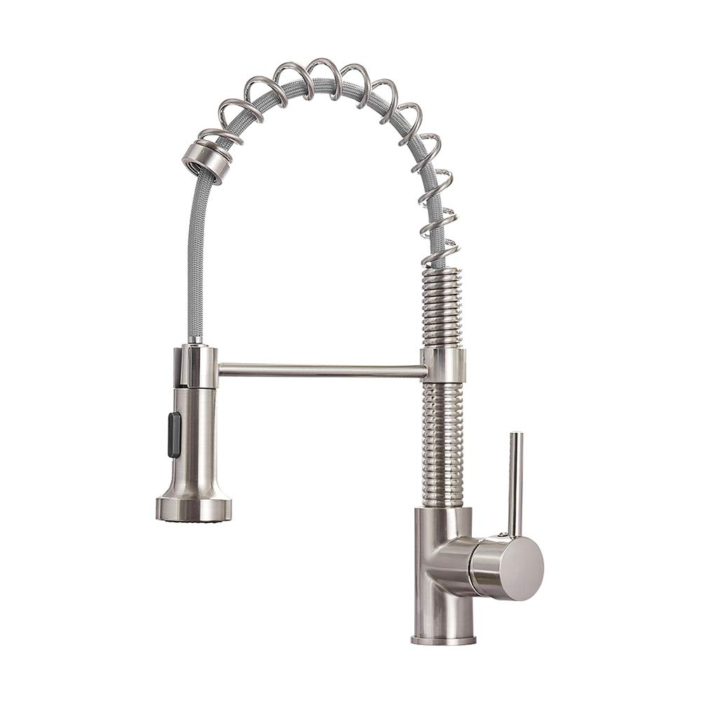 OWOFAN Lead-Free Commercial Solid Brass Single Handle Single Lever Pull Out Pull Down Sprayer Spring Kitchen Sink Faucet, Brushed Nickel Kitchen Faucets 866053SN