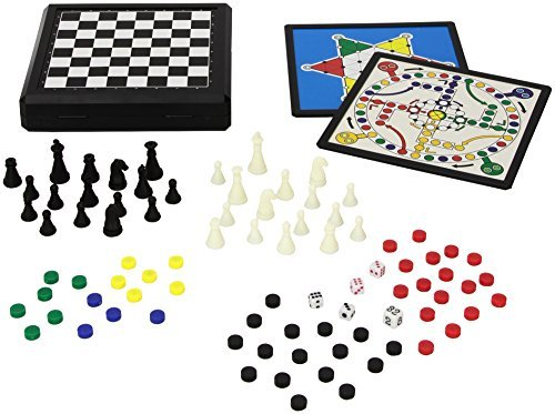 Juego 9 in 1 Travel Magnetic Game Set incl. Ludo, Chess, Draughts; Chinese Chequers, Backgammon etc. - Multicolor by Juego