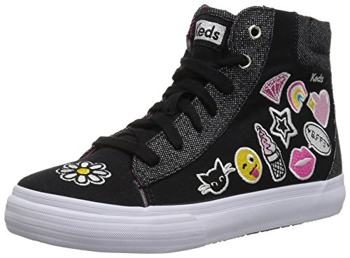 Keds Girls' Double up High Top Sneaker, Black, 2 Medium US Big Kid